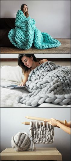 Is there anything cozier than this? We know those of you living in places with very chilly winters would LOVE to have this amazing blanket. ;)  http://craft.ideas2live4.com/2016/03/08/how-to-make-chunky-knitted-blankets/  Whether you are a first-timer or an experienced knitter, you can definitely make your own chunky knitted blanket...  Want to have one for the cold weather?