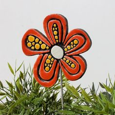 Flower garden decor - garden art- garden ornament - abstract flower- plant stake - funky gift - Daisy red with dots via Etsy