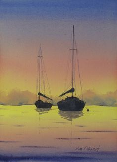 """Sunset Glow - 15x11"""" original watercolor painting by Jim Oberst - $200 including U.S. shipping"""