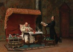 The Canon's Dinner 1875 by French Painter Jehan-Georges Vibert 1840-1902