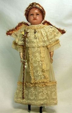Antique Early German Angel Wax Doll c1890.