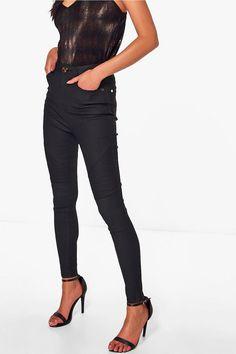 Cate Coated Super Skinny Stretch Biker Trousers