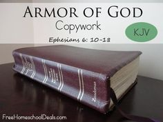 This free printable is a set of copywork for Ephesians 6:10-18, which is the Armor of God text.  There is an 8.5×11 page with the entire set of verses, which you can use to practice writing or print to use as a mini poster.  Each verse is then listed one verse per page, so your child can practice one particular verse at the tim