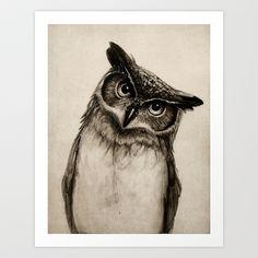 Owl Sketch Art Print by Isaiah K. Stephens - $15.00