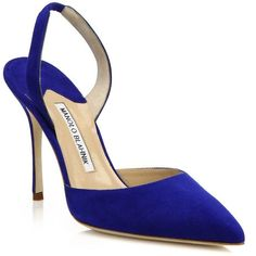 Manolo Blahnik Carolyne Suede Slingback Pumps (2.705 RON) ❤ liked on Polyvore featuring shoes, pumps, apparel & accessories, sling back shoes, suede pointy toe pumps, cushioned shoes, slingback pumps and pointed toe shoes