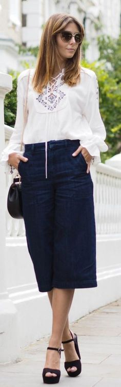 E J Style How To Rock Black Denim Culottes #Fashionistas