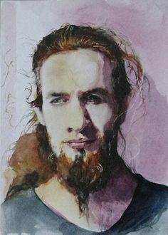 sunny boy, watercolor portrait, www.farbawodna.blogspot.com