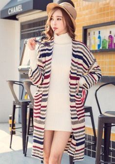 Buy Stripe Knitted Long Cardigan | mysallyfashion.com Malaysia ...
