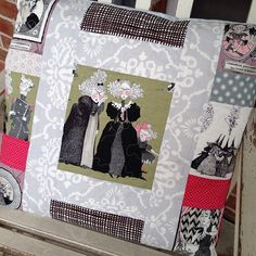 """quilted pillow made with """"the ghastlies"""" fabric by Alexander Henry, Halloween pillow"""