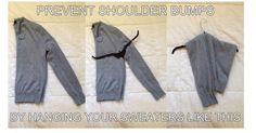 Hang sweaters without creating shoulder bumps...