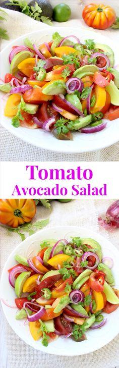 Tomato Avocado Salad Recipe with Lime Avocado Dressing | CiaoFlorentina.com @CiaoFlorentina