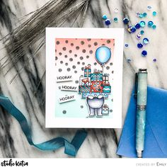 Emily Midgett here with you today sharing a project with not one, but two layers of masking on the background! I can always use masculine or gender neutral birthday cards for those little… Boy Birthday Parties, Birthday Cards, Neutral Color Scheme, Foam Adhesive, Simon Says Stamp, Copic Markers, Some Fun, Card Stock, Stencils