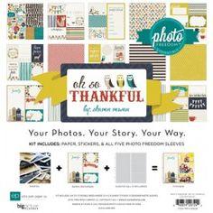 """Набор бумаги, стикеров и прозрачных файлов """"oh so Thankful"""", 30х30 см, серия Photo Freedom compatible, Echo Park"""