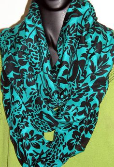 Teal Black pure Silk Fabric Infinity scarf