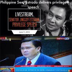 Watching Sen. Estrada delivering privilege speech, one of the three powerful #Philippines' senators accused of channelling millions of dollars of public funds into bogus organizations in return for huge kickbacks. He decries unfair probe on scam case. #porkbarrelscam #PDAF #PDAFscam http://www.rappler.com/video/specials/60285-enator-jinggoy-estrada-privilege-speech-june-11-2014