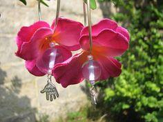 Flower earrings purple with a hand charm by KatKeRosCorner on Etsy, $18.00