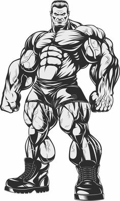 Drawing Superhero Vector illustration, Bodybuilder strict coach bodybuilding and fitness - Bodybuilding Training, Bodybuilding Motivation, Cartoon Drawings, Cool Drawings, Bodybuilder, Gym Logo, Fitness Tattoos, Vector Art, Comic Art