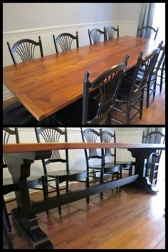 hand crafted using reclaimed douglass fir barn wood we love the trestle base www bt2 8 rustic wood furniture