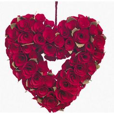 Red Rose Heart Wreath $15.00/ we could make these with styrofoam hearts and dollar tree roses?