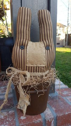 Primitive Bunny in a Rusty Bucket Spring Easter Rabbit by Wildoberryfarms on Etsy $28.00