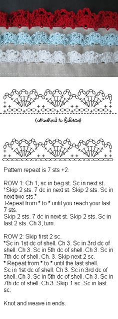 Eyelet lace edging pattern, from Alipyper  #crochet