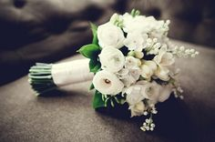 white bouquet - ranunculus, narcissus, freesia, lily of the valley