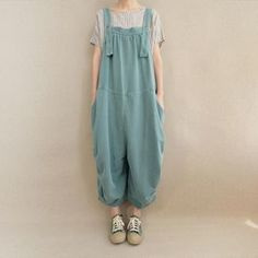 Japanese Outfits, Japanese Fashion, Cool Outfits, Casual Outfits, Casual Pants, Cute Overalls, Cotton Jumpsuit, Women's Summer Fashion, Uni Fashion
