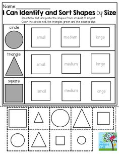 Cut and paste and sort shapes by size!  TONS of hands-on printables for Back to School!