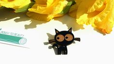 Clara Cat Wooden Badge Black. Handmade jewellery by BoughtoBeauty, £10.00