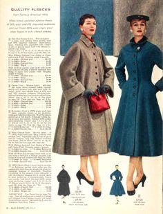 The blue one - princess lines, tab yoke, waistline darts, turn back cuffs, velvet lined collar.