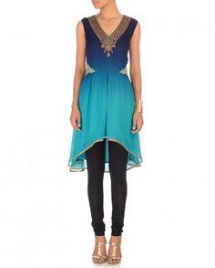 Midnight & Aqua Blue Tunichttp://goo.gl/3dkio8 #fashion #beautiful #luxury #Indian #India #blue #blush #summer #ombre #JJValaya #sari #saree #suit #anarkali #desi #designer #desi #red #pink #cream