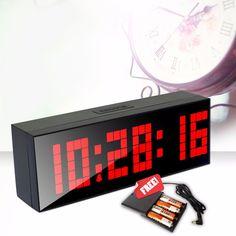 New HOT ountdown Digital LED despertador luz LED Digital relógios de parede com brilho luz temperatura calendário 6 alarmes alishoppbrasil
