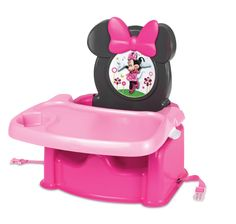 Give your little mouse the prettiest place at the table. This high-back feeding booster seat from The First Years featuring Minnie Mouse has a 3-point harness and chair straps for added security. After mealtime, the comfy, contoured seat and dishwasher-safe tray with cup holder make cleaning up after your messy mouse quick and simple. The seat back folds down for easy travel and storage, making it great for on-the-go adventures.