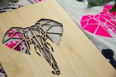 Geometric Elephant Woodtale Stencil by EllyBeamer on Etsy