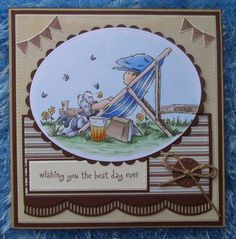 LOTV stamp Taking it easy plus Don and Daisy summer scenery fence.  die cuts by Marianne Design