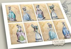ROCOCO  Digital Collage Sheet/ Printable Jewelry by ArtCult, $4.60