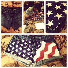 DIY 'Merica Shorts    For this year's 4th of July party, @Casey Dalene Dalene Meisenbacher
