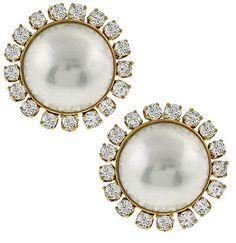 Vintage 2.10ct Diamond Mabe Pearl Earrings