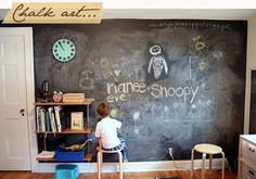 Chalkboard wall in the playroom so the kids CAN write on the wall! We all know they want to so give them a place to!