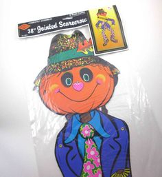 Vintage 1970s Jointed or Articulated Scarecrow Pumpkin Head Halloween Decoration in Original Package by Beistle