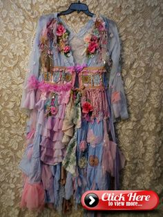 Very Romantic Dreamy Flower Garden jacket / dress w/ Sky Blue sheer base color/canvas Art to Wear Handmade One of a Kind Specialty Item For Someone Ve