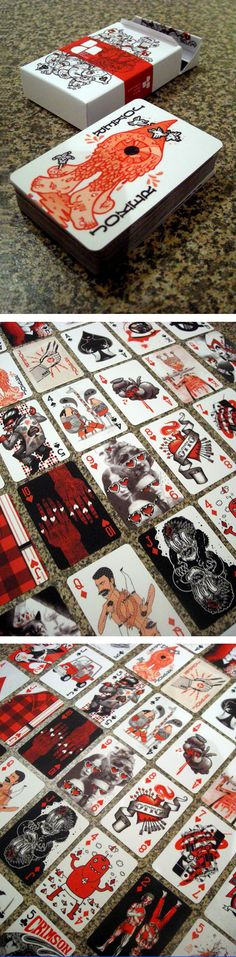 Red, Black and Grey playing cards of art