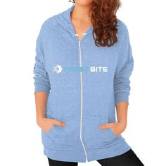 Logo And Name With Frost Being Blue Zip Hoodie (on woman) Shirt