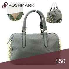 Grey Satchel with Metal Studs HANDBAG   GOLDEN HARDWARE   METAL STUDS   ZIP  TOP CLOSURE   INSIDE TWO ZIP AND TWO OPEN POCKETS  POLYURETHANE   HANDLES 7  INCH ... 170da0ca62ba5