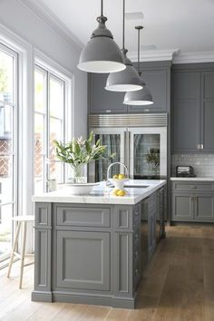 Grey Kitchen - Design photos, ideas and inspiration. Amazing gallery of interior design and decorating ideas of Grey Kitchen in kitchens by elite interior designers. Grey Kitchen Cabinets, Kitchen Redo, New Kitchen, Kitchen Ideas, White Cabinets, Kitchen White, Kitchen Paint, Kitchen Colors, Country Kitchen