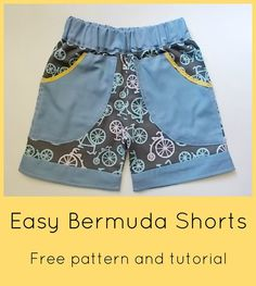 On the Cutting Floor - The easy summer bermuda short free sewing pattern and tutorial Gonna have to make them in pink. Sewing Kids Clothes, Sewing For Kids, Free Sewing, Baby Sewing, Boys Sewing Patterns, Clothing Patterns, Pdf Patterns, Pattern Sewing, Short Niña