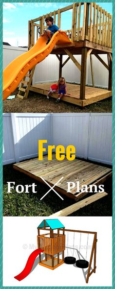 Fort Plans - Step by step instructions for you to learn how to build an outdoor playset in one weekend!DIY Fort Plans - Step by step instructions for you to learn how to build an outdoor playset in one weekend! Outdoor Forts, Playhouse Outdoor, Outdoor Playset, Diy Outdoor Toys, Outdoor Toys For Kids, Outdoor Fun, Backyard Playground, Backyard For Kids, Playground Ideas