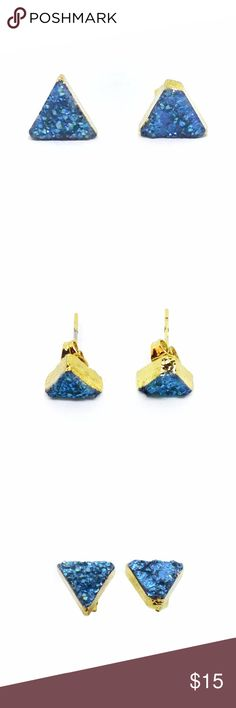 *SALE* Earrings Druzy Triangle in Ocean Blue Gorgeous!! Pair of earring studs with ocean blue agate druzy stones. Gold plated. Triangle shape. Measures 10mm wide, approx 5mm height. Standard posts for pierced ears. NOTE: earrings have slight variants in natural stone – please review photos, sold as is. Total weight 1.5 grams. They sparkle beautifully in light. Lovely! Candymuse Jewelry Earrings