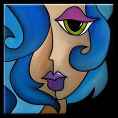 Title: Faces1137 3030 Mermaid Song ~ Thomas C. Fedro - Original Abstract Art Painting, Fido Studio