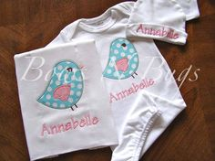 This is an adorable appliqued set for a new baby girl!! Included is a bird appliqued and monogrammed layette gown, burp cloth and infant hat/cap. You